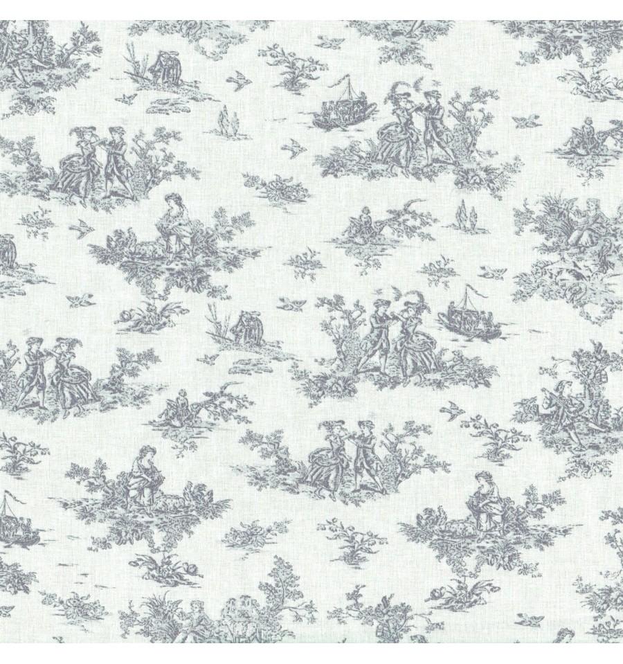 La petite toile de jouy grey textiles fran ais - Chambre toile de jouy ...