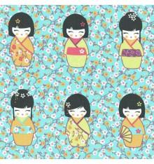 Kokeshi Japanese Wooden Dolls Fabric (Turquoise Blue)