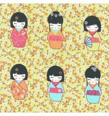 Kokeshi Japanese Wooden Dolls Fabric (Soft Anise)