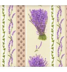 "Provençal ""Lavender Stripe"" Cotton Print (Ecru)"