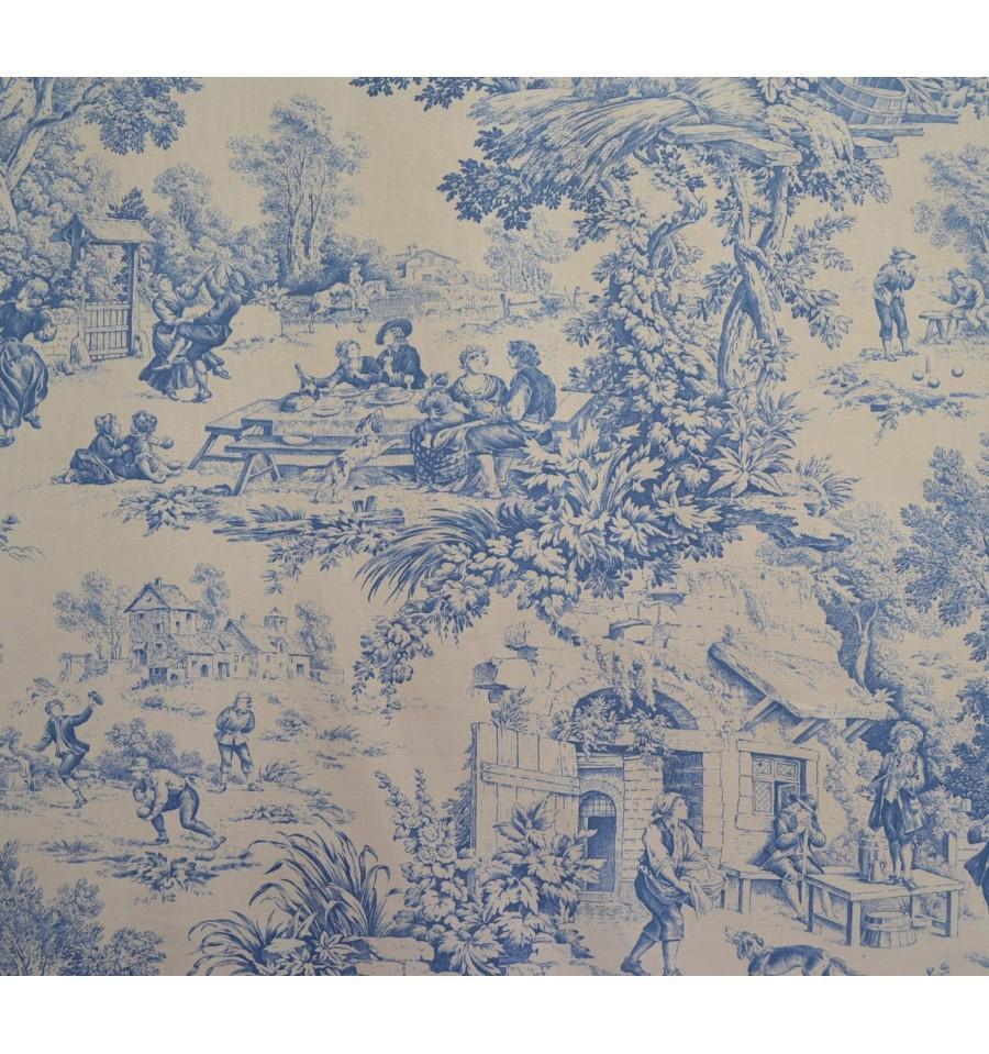 toile de jouy fabric  blue  100  cotton print