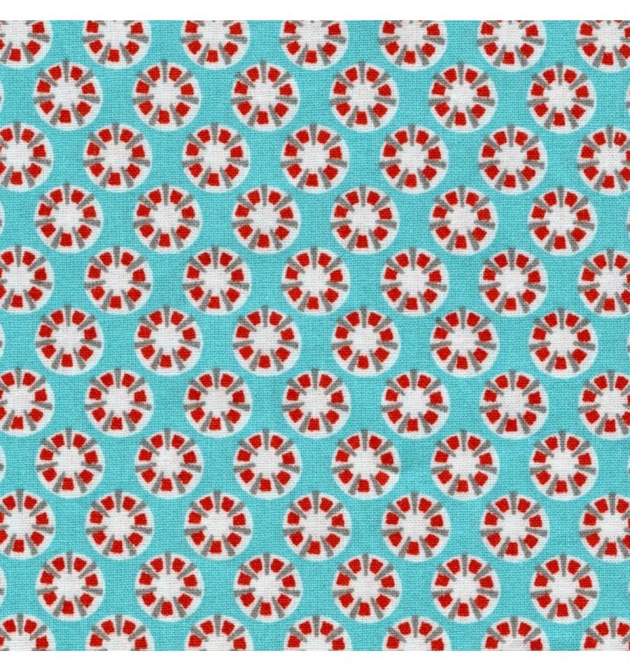 Raindrops fabric (Turquoise, Aqua, Grey, Orange & Red) - Textiles ...