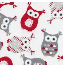 Fashionista Owls fabric (Greys, Red, Beige, Graphite & White)