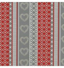 Lattice Hearts Stripe fabric (Red, Grey, Cream Beige and Cream White)
