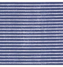 Midnight Blue & White Fabric (Rustic French Breton Sailor Stripe)
