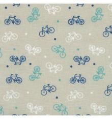 Blue, Green & White on Winter Beige Fabric (Bikes)