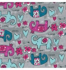 Happy Hippy Funny Elephants children's fabric