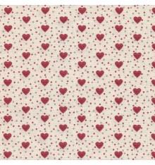 I Love Hearts fabric - Red Hearts on Cream