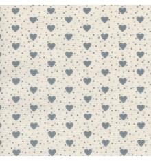 I Love Hearts fabric - Mid Grey Hearts on Ivory