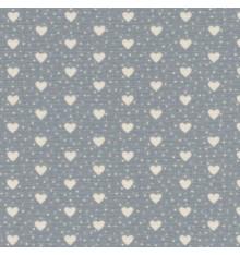 I Love Hearts fabric - Ivory Hearts on Mid Grey