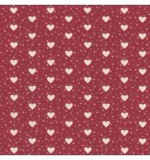 I Love Hearts fabric - Cream Hearts on Red