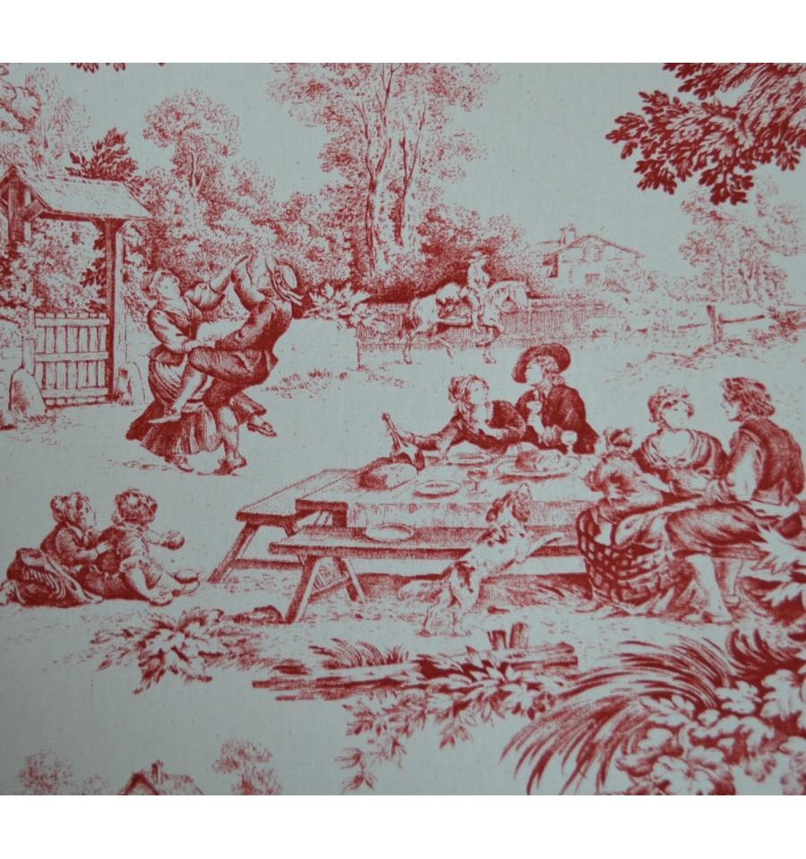 Toile de jouy fabric red 100 cotton print textiles - Housse de couette toile de jouy ...