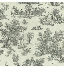 Mini Toile de Jouy Fabric (La Vie Rustique) - Anthracite Grey