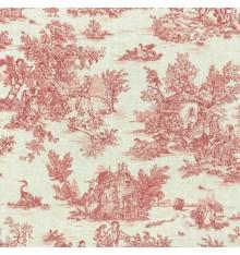 Mini Toile de Jouy Fabric (La Vie Rustique) - Antique Red
