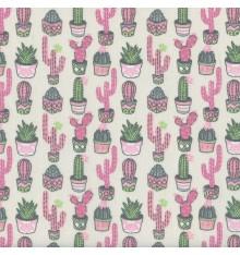 CACTUS Fabric - Pink, Green & Grey