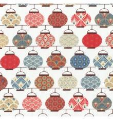 Japanese Lanterns fabric - Red/Blue