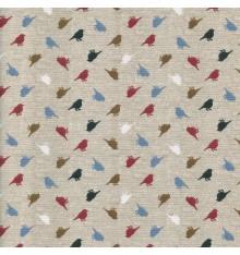 Linen-look Mini Birds fabric (Les Petits Oiseaux)