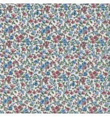 La fleur de la liberté fabric - sky blue & rose with green