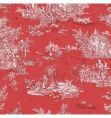 Toile de Jouy Fabric (La Grande Vie Rustique) Vermillion Red