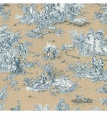 Toile de Jouy Fabric (La Grande Vie Rustique) Golden Beige