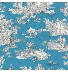 Toile de Jouy Fabric (La Grande Vie Rustique) Wedgwood Blue