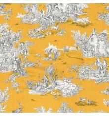 Toile de Jouy Fabric (La Grande Vie Rustique) Mustard Yellow