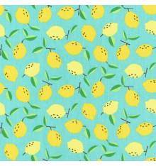 Juicy Lemons fabric (Tropical Turquoise)