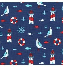 LA VIE NAUTIQUE fabric - Marine Blue
