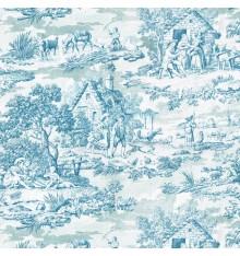Toile de Jouy Fabric (Oberkampf) Cerulean Blue