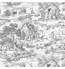 Toile de Jouy Fabric (Oberkampf) Anthracite