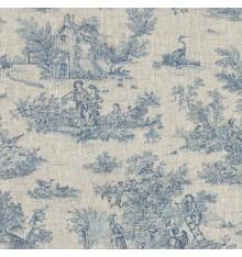 Toile de Jouy Fabric (La Grande Vie Rustique) - Blue on Linen