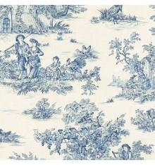 Toile de Jouy Fabric (La Grande Vie Rustique) - Blue on Ecru
