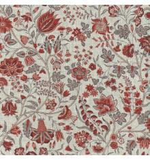 Les Fleurs d'Inde Linen Fabric (Rusty Reds)