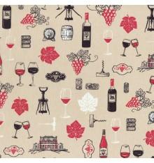 Vin Rouge fabric - Red, Black & White on Light Oak Barrel