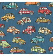 """Ma 2CV"" car design fabric - Blue"
