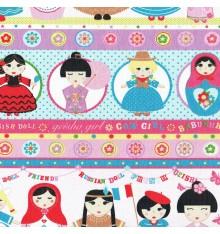 Gals & Dolls fabric - Multicolour