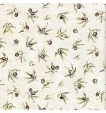 OLIVE GROVES - Olive Greens & Black on Cream