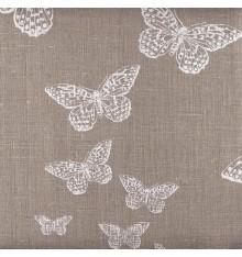 Flutter | 100% Linen Butterfly Print (Natural)