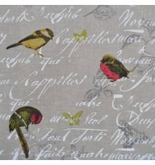 100% Pure Linen Fabric - Les Oiseaux (Natural)