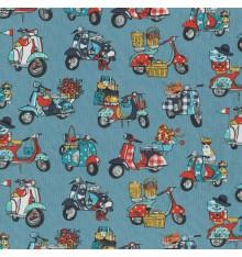 Scooter Italiano fabric - Multicolour on Blue Grey