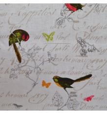 100% Pure Linen Fabric - Les Oiseaux (White)