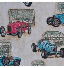 Grand Prix   100% Linen Vintage Cars