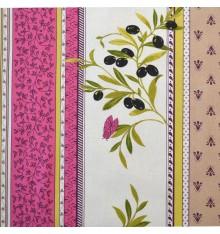 Provencal stripe olives fabric (Magenta Pink & Sand Beige)