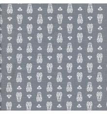 CICADAS Provençal fabric - Mid Grey & White