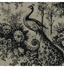 100% Linen Peacock Print - Black