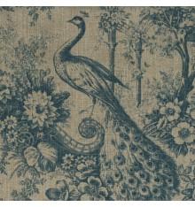 100% Linen Peacock Print - Blue