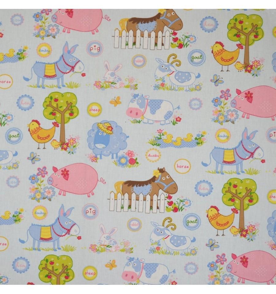 Farmyard animals children 39 s fabric textiles fran ais for Childrens material
